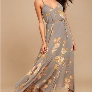 Feeling Freesia Grey Floral Print Maxi Dress